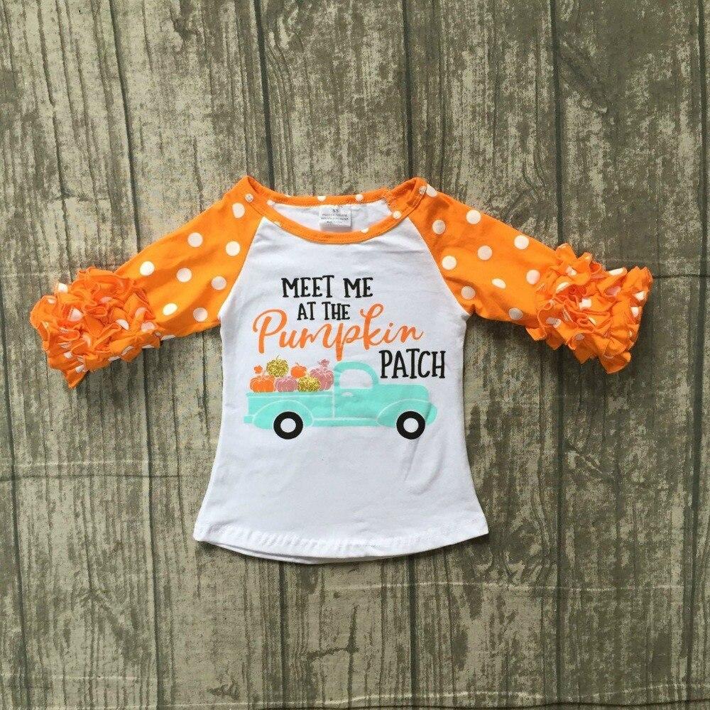 Halloween baby mädchen boutique top t-shirts kleidung treffen mich in kürbis icing hülse baumwolle top kinder raglans orange rüschen