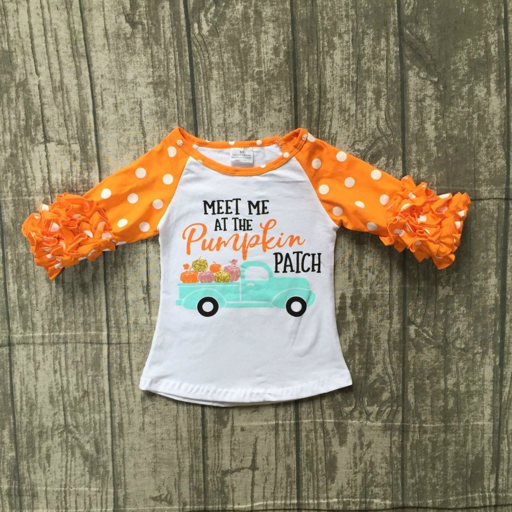 Halloween neonate boutique top t-shirt vestiti meet me in zucca glassa top in cotone a manica dei bambini raglans orange ruffles