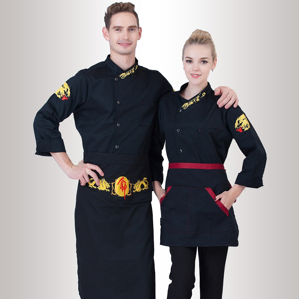Fall/Winter Long Sleeve Chef Coats+Big Apron Europe Workwear uk Embroidered Clothing Hotel Cooking Clothes Cheap Jacket