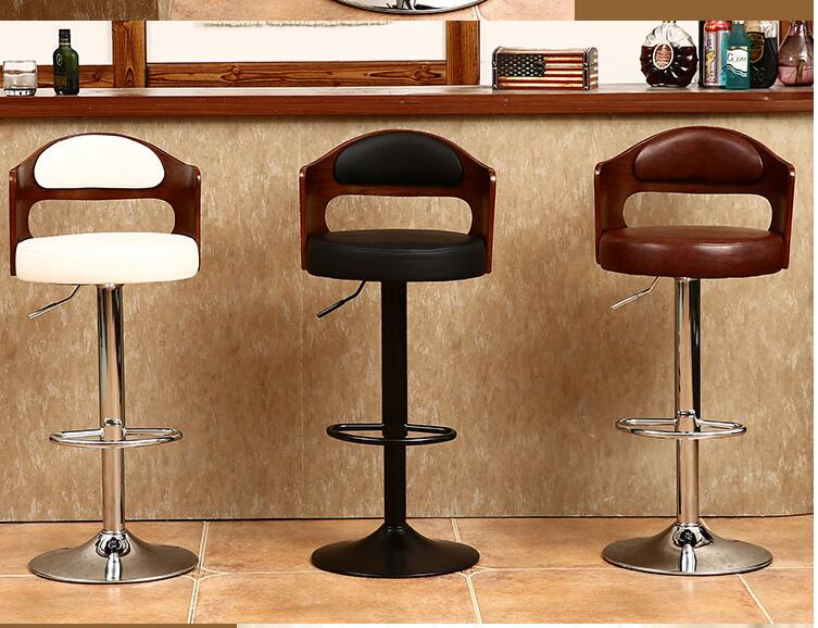 Bar Chair Solid Wood. Retro - Back Lift - Rotating Stool. Front Desk Cashier. Bar Chair.012
