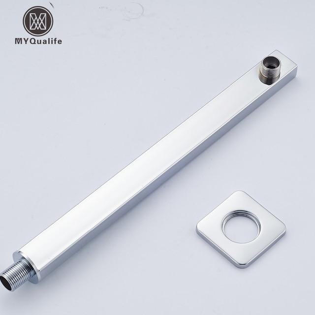 Polished Chrome Wall Mount Square Showerhead Holder Shower Arm Shower Head  Pipe
