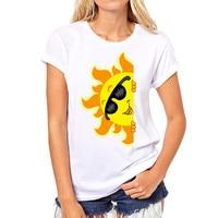 Hot Sale New Fashion Women 3D Printing Personality Sun Pattern Short Sleeve O-neck White T Shirts W09