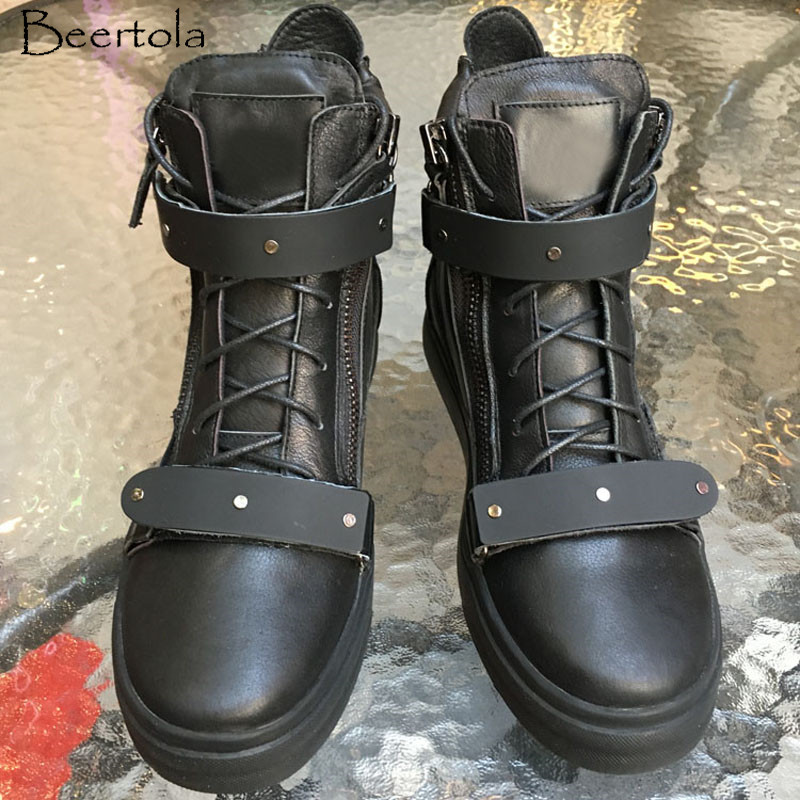 4a64aa4670 Homens Sapatos Dedo Picture Preto De Apartamentos High Fivela Do Botas  Decoração Up As Pé Top Redondo Zipper Lace Moda ...