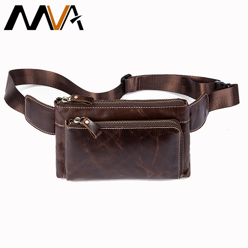MVA Fanny Pack Genuine Leather Bag Waist small Travel Phone Pouch Bags hip Belt Bag Men Money Belt Male Shoulder Waist Bags 8900 men male casual functional canvas bag waist bag money phone belt bag pouch bum hip bag shoulder belt pack 2018
