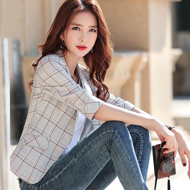 PEONFLY Elegant Autumn Turn Down Collar Slim Plaid Blazer Jacket Half Sleeve Office Lady Woman Suits Slim Casual Buckles Coat 4