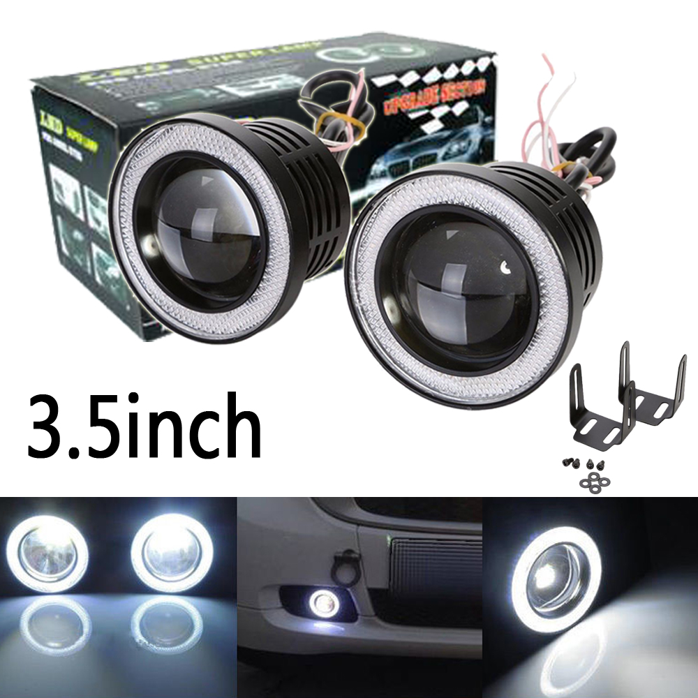 2X 3.5 inch 89mm 3200Lm Round LED COB Projector Fog Light with Angel Eyes Halo Ring White/Green/Amber/Blue/Pink/Red Car Auto 12V angel eyes super led light ring for car headlights motorcycle 50mm 5w x 2 one pair white amber red green blue