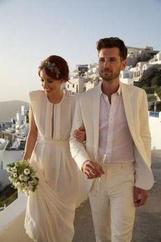 Notch Lapel Linen Beach Style Men Slim Fit Suits/Tailor Made Weddding Suit For Men/Two Button Men Blazer(Jacket+Pant)