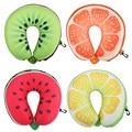 U Shaped Neck Protection Pillow Watermelon Lemon Kiwi Orange Fruit Pillows Nanoparticles Massage Neck Pillow Car Travel Cushion