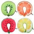 U em forma de pescoço proteção travesseiro nanopartículas de orange fruit lemon kiwi melancia travesseiros almofada de massagem no pescoço travesseiro de viagem de carro