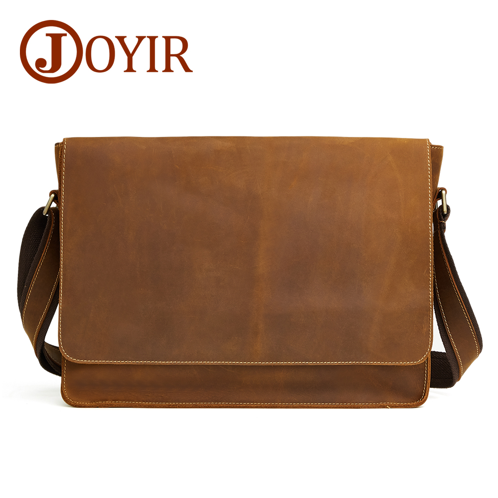 Joyir briefcase for male genuine leather Retro business single Shoulder Bag man Crazy horse skin casual cross body Men's bags-in Briefcases from Luggage & Bags    1