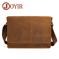 Joyir briefcase for male genuine leather Retro business single Shoulder Bag man Crazy horse skin casual cross body Men's bags