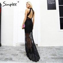 ebc139890 Simplee Halter elegante negro vestido de encaje mujeres sexy backless Slim  skinny partido Maxi vestidos otoño vintage largo vest.