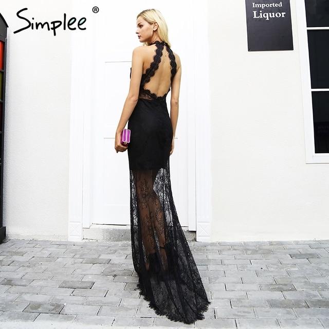 Simplee Элегантный Холтер Черный Кружевное платье женские пикантные спинки Тонкий Тощий Макси вечернее платье осень Винтаж длинные Новогоднее платье