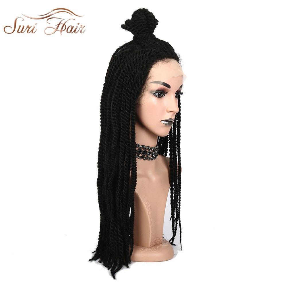 bons plans 2017 élégant et gracieux procédés de teinture minutieux € 49.15 20% de réduction|Suri Hair 24 ''tresses dentelle frontale perruque  noir synthétique Afro américain tressage cheveux pour femmes Cosplay taille  ...