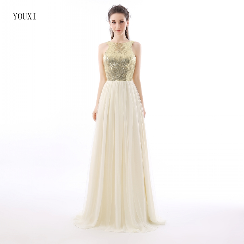 Charmming Chiffon Tulle with Top Champagne Gold Sequin Bridesmaid Dresses Formal Prom Dress 2019 Long Special