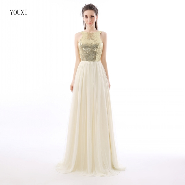 f3da958e3f Charmming Chiffon Tulle with Top Champagne Gold Sequin Bridesmaid Dresses  Formal Prom Dress 2019 Long Special Occasion Dresses