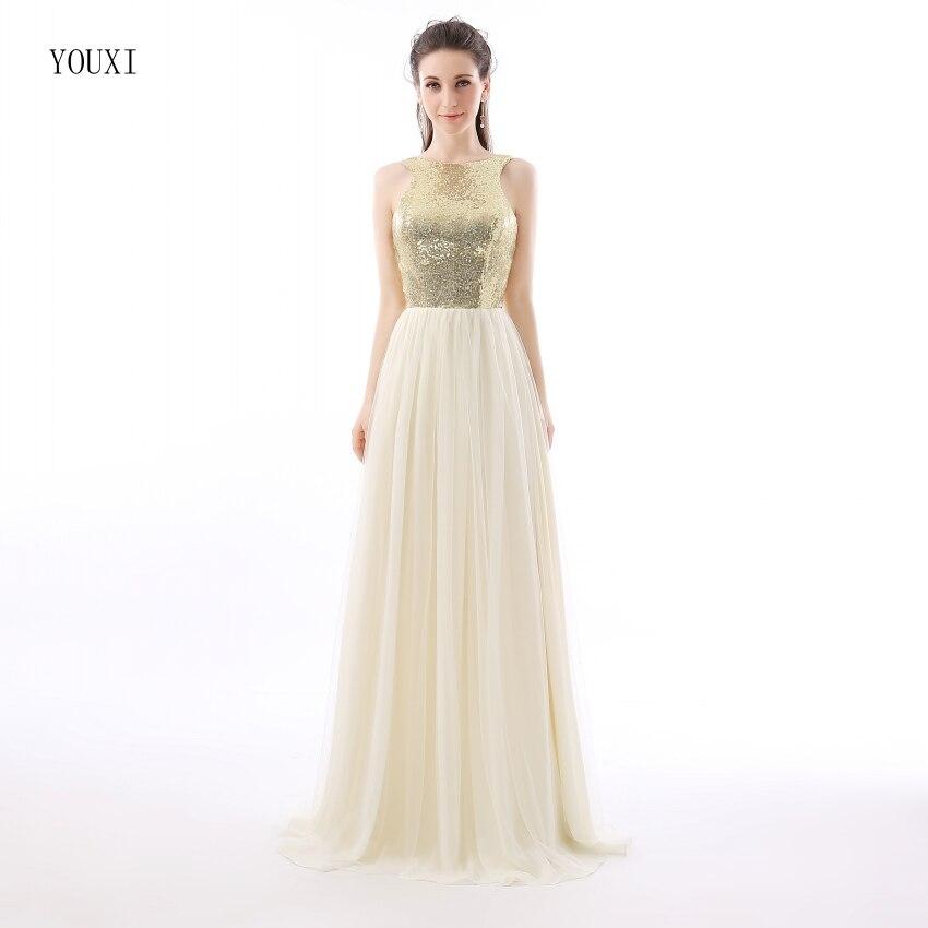 1ff90915a6 Charmming szyfon tiul z najwyższej Champagne złoty olśniewająca suknie  druhna wyjściowa sukienka na studniówkę 2019 długie sukienki na specjalne  okazje