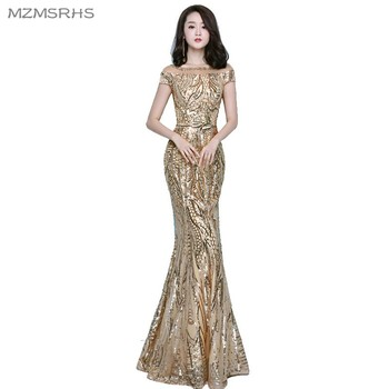 MZMSRHS Robe De Soiree Slim Mermaid Gold Scoop Neck Sequined Long Evening Dresses Fashion Short Sleeves Prom Party Dresses