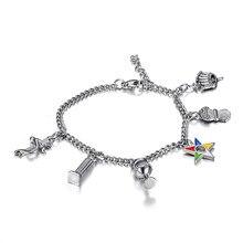 Nieuwe Trendy 316l Rvs Oes Chain Armbanden Orde Van De Eastern Star Bedels Kralen Armbanden Dames