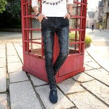Mens Black Jeans Skinny Stretch Jeans Slim Fit Elastic Fluff Jeans Snow Pattern Denim Pencil Pants For Men No Belt Mj018 недорго, оригинальная цена