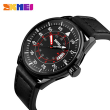 SKMEI Men Fashion Quartz Watch Military Watches Waterproof Calendar Leather Strap Wristwatches Brown Relogio Masculino 9113 skmei sport quartz watches men causal fashion watch leather strap waterproof date wristwatches male relogio masculino wristwatch