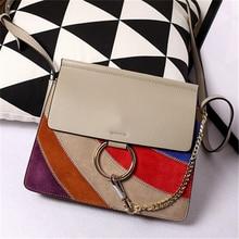 Hot Stripe Ring Circle Napa Patchwork Nubuck Genuine Leather Handbag Ladies Shoulder Bags Satchels Crossbody Bags Day Clutches