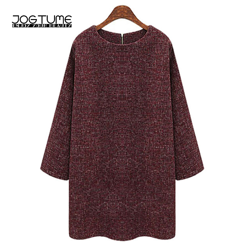 JOGTUME Wine Red Loose Dress 2017 Spring Autumn Women T-shirt Dress Long Sleeve O Neck Lady Knitted Elegant Dress Plus Size 5XL