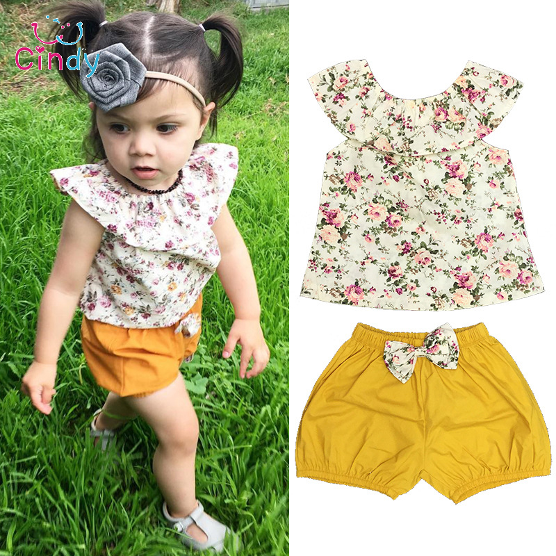 Toddler Infant Baby Girl Clothing Set Outfits Floral Shirt Tops Short Sleeve Flower Shorts Pants 2pcs Set Clothes Baby Girls infant baby boy girl 2pcs clothes set kids short sleeve you serious clark letters romper tops car print pants 2pcs outfit set