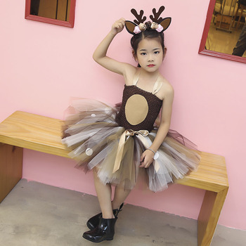 Deer Tutu Dress Happy Purim Baby Girls 1st Birthday Party Dresses Carnival Halloween Winter Cosplay Costume Clothes For Kids 6