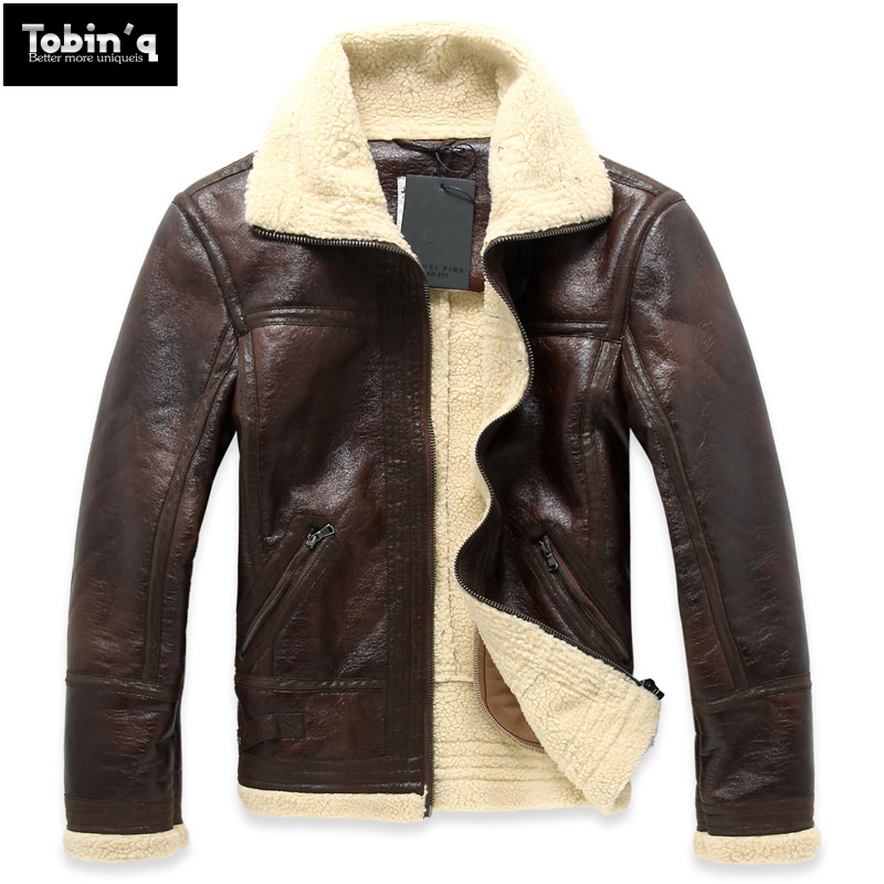 HOT free shipping Men's brand autumn winter pilot fur one piece thickening slim motorcycle PU leather clothing jacket coat/M-XXL