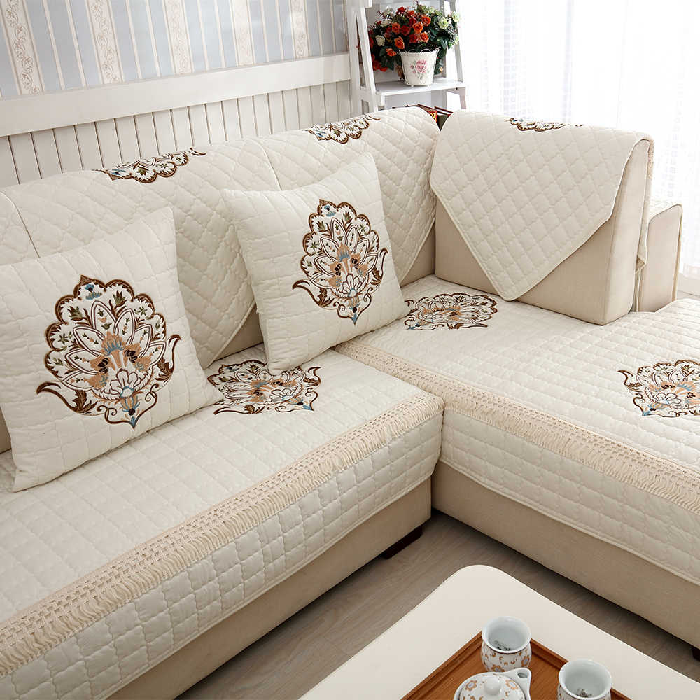 quilted embroidery sectional sofa couch slipcovers furniture protector cotton modular leather detail feedback questions about 1 piece embroidered covers non slip corner