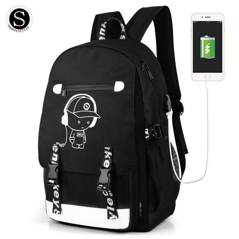 Senkey Style Women Backpack Cartoon USB Waterproof Anime Luminous School Bags For Teenagers Famous Brands Designer