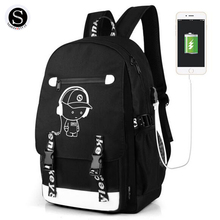 Senkey Style Women Backpack Cartoon USB Waterproof Anime Luminous School Bags For Teenagers Famous Brands Designer Backpack Men