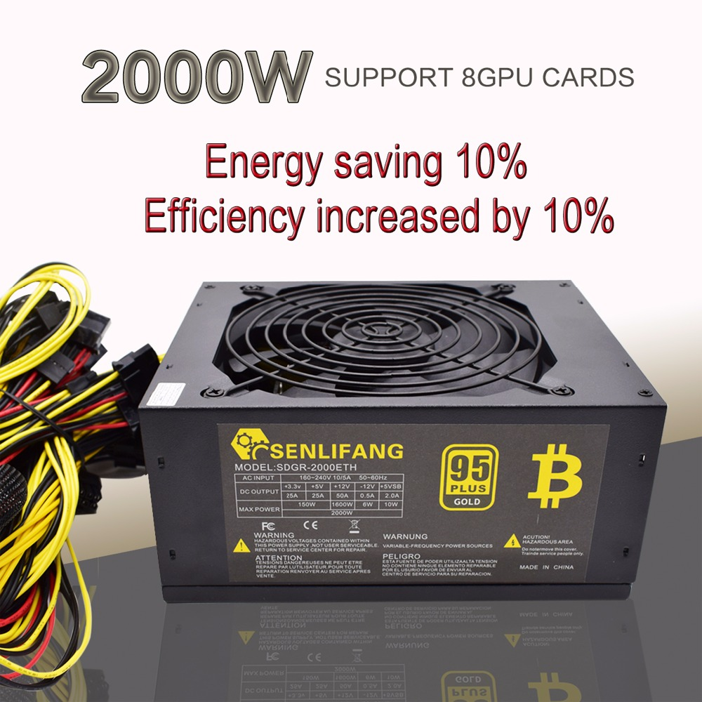 2pcs Asic Bitcoin Gold Power 2000W PLUS BTC Power Supply ATX Mining Machine Supports 8 GPU