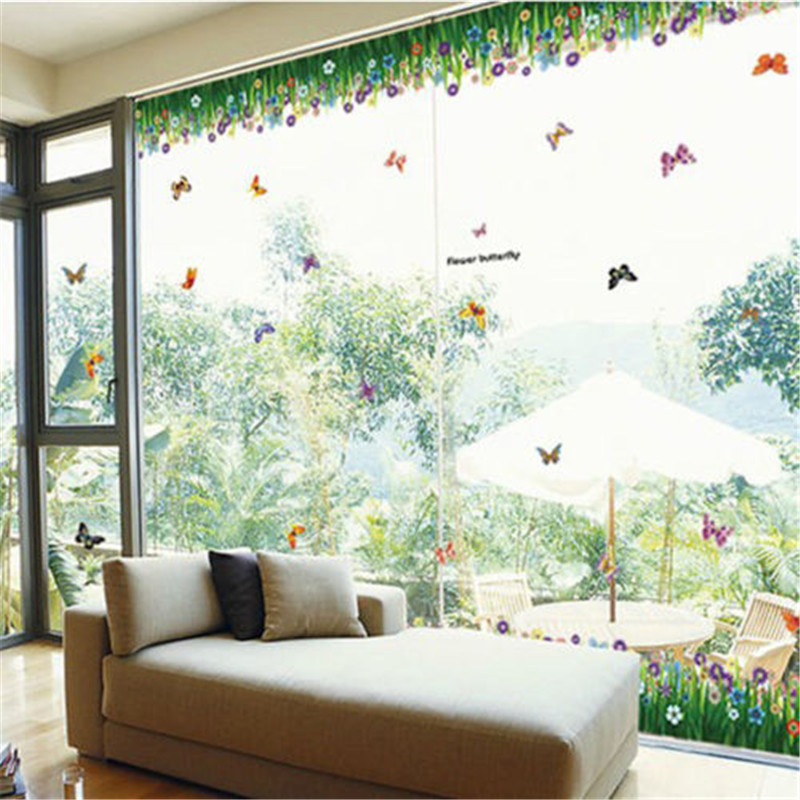 Home Decor Flower Grass Butterfly Wall Border Decal Removable Windows Stickers  Decor(China)