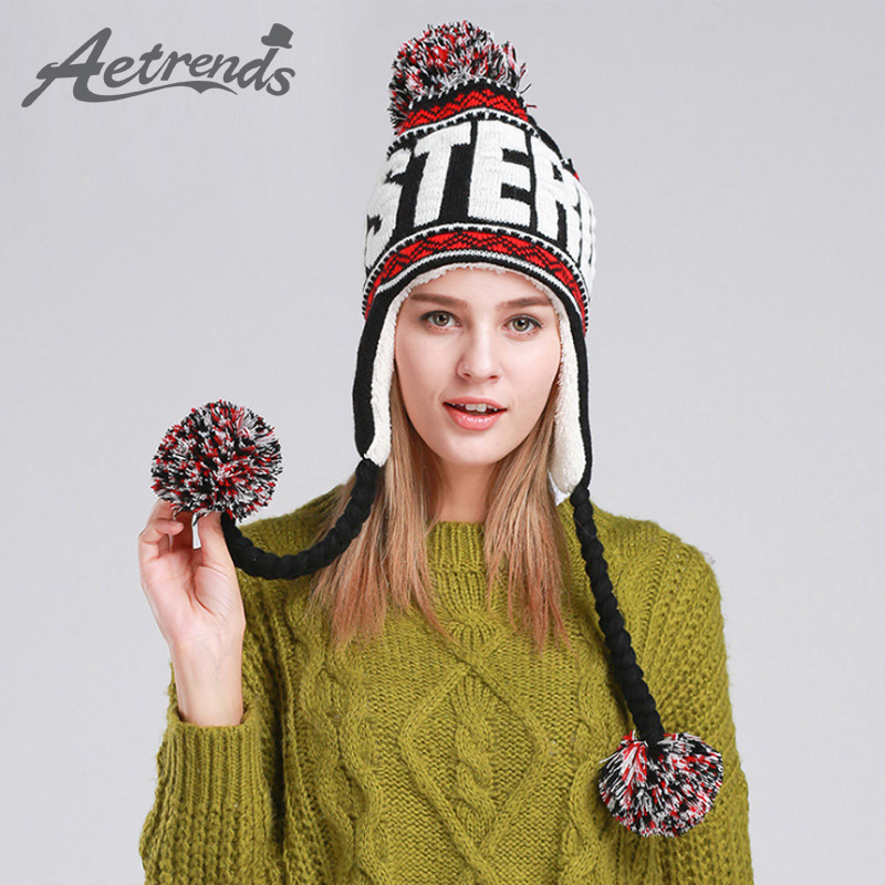 [AETRENDS] Fashion Designer Beanies Winter Hat With Ears Warm Beanie Girl Hats With Top Ball Z-1355