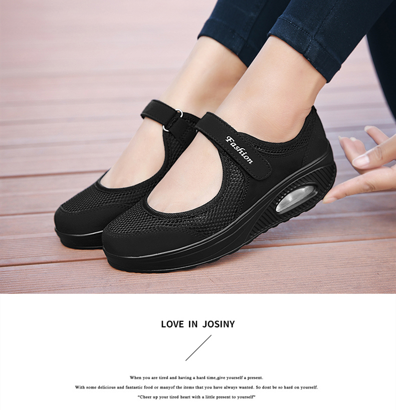 STS Brand 2019 New Fashion Women Sneakers Casual Air Cushion Hook & Loop Loafers Flat Shoes Women Breathable Mesh Mother`s Shoes (10)