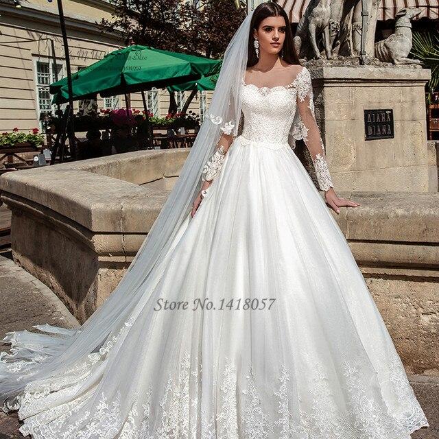Country Western Wedding Dresses Turkey Long Sleeve Lace Wedding Gowns  Vestido de Noiva Com Manga Princess Bride Dress 2017 Boda 916e0201f885