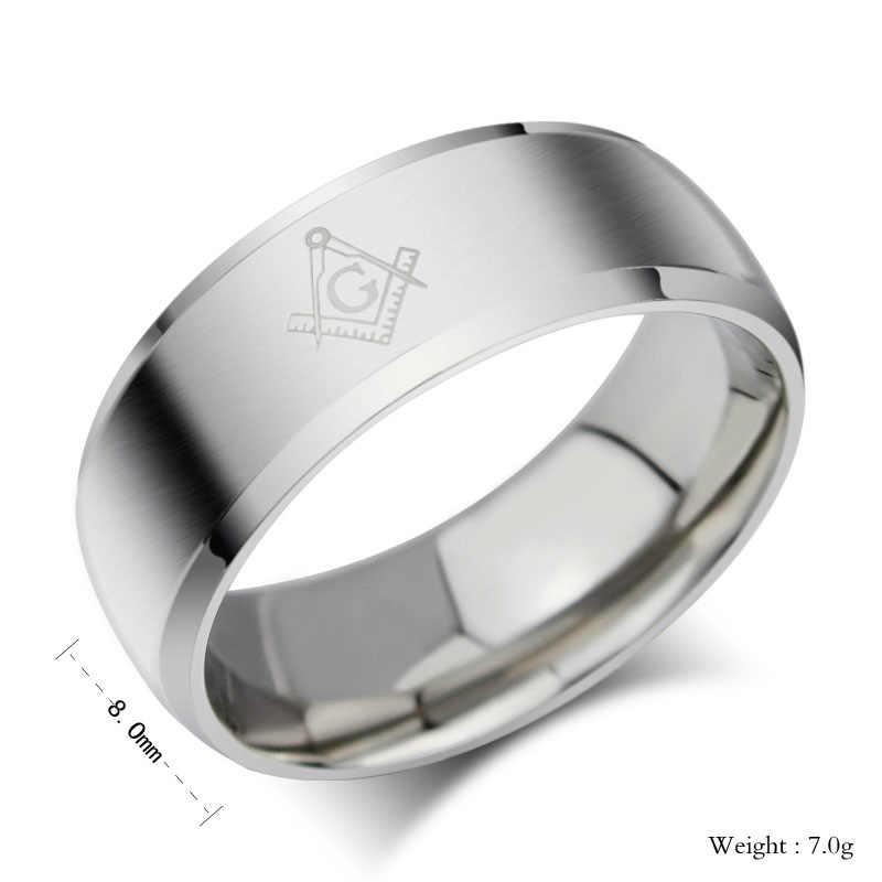 CINCIN Titanium Cincin Pria Stainless Steel Perhiasan MASONIK