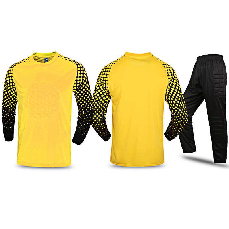 4222b74aaf5 ... 2018/19 New Kids Soccer Goalkeeper Jerseys Set Men's Sponge Football  Long Sleeve Goal Keeper ...