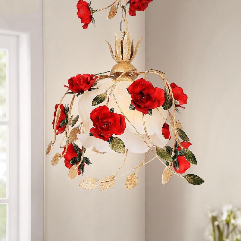 Rustique Rural français Restaurant décoration barre lampe rouge Rose fleur pendentif LED lumière cuisine moderne escalier balcon couloir