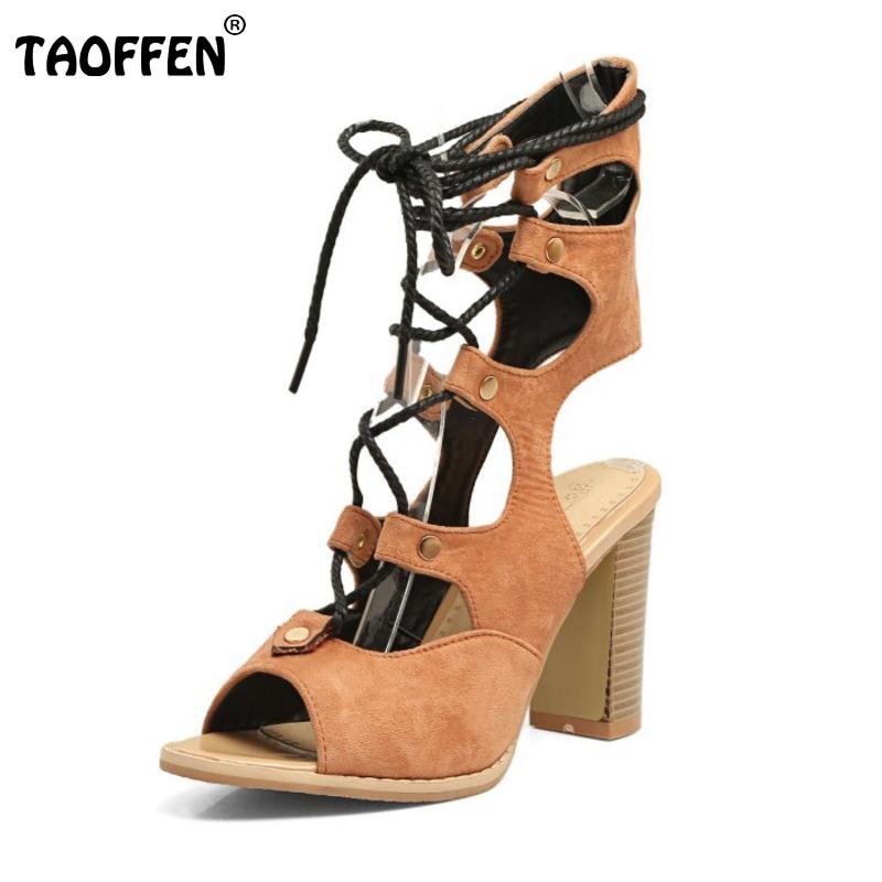 TAOFFEN Plus Size 33-48 Women Sandals La
