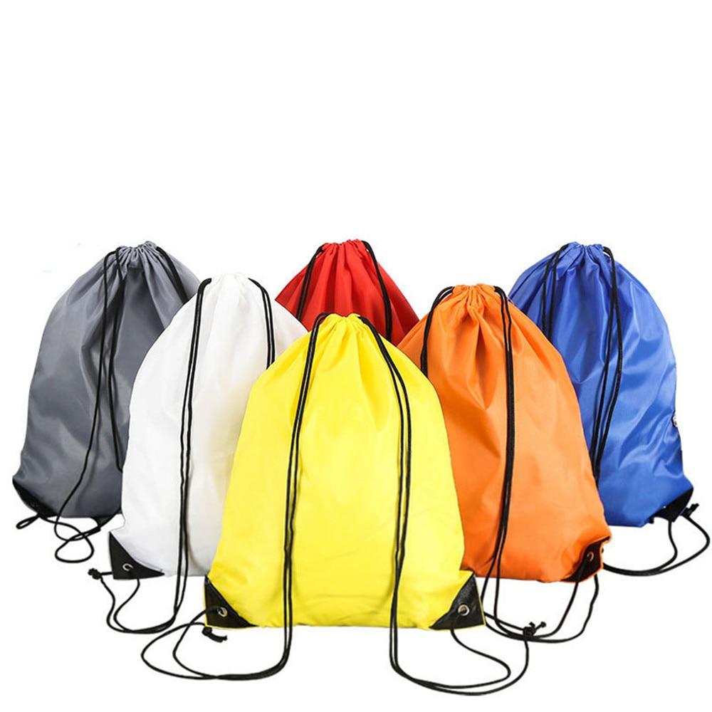 Polyester Bundle Pocket Drawstring Shopping Storage Bag Nylon Sports Backpack Drawstring Bag Travel Bag Random Color