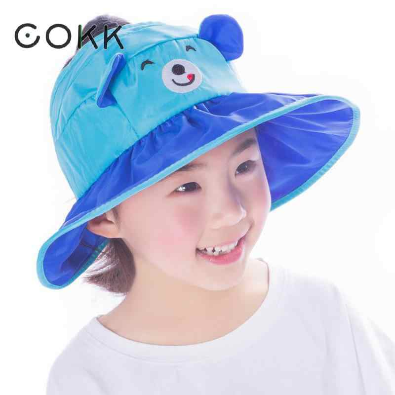 COKK Kids Sun Hat Summer Hats For Children Girls Boys Cartoon Bear With Ear  Bucket Hat c95e970c4c3e