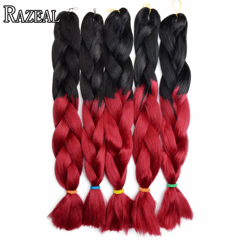 Razeal 18 24 Ombre Jumbo Braids Synthetic Braiding Hair Crochet High Temperature Fiber Hair Extensions & Wigs