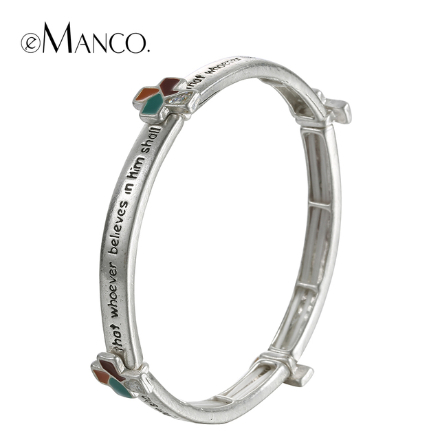 eManco alloy elastic bangle enamel cross engraved bracelets for women antique silver plated minimalist letters hand jewelry