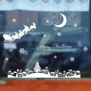 Image 2 - السنة الجديدة ملصقات عيد الميلاد للنوافذ مطعم مول الديكور الثلوج الزجاج نافذة للإزالة عيد الميلاد زخرفة #3o24