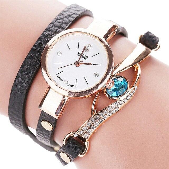 #5004CCQ Women Fashion Casual Analog Quartz Women Rhinestone Watch Bracelet Watc