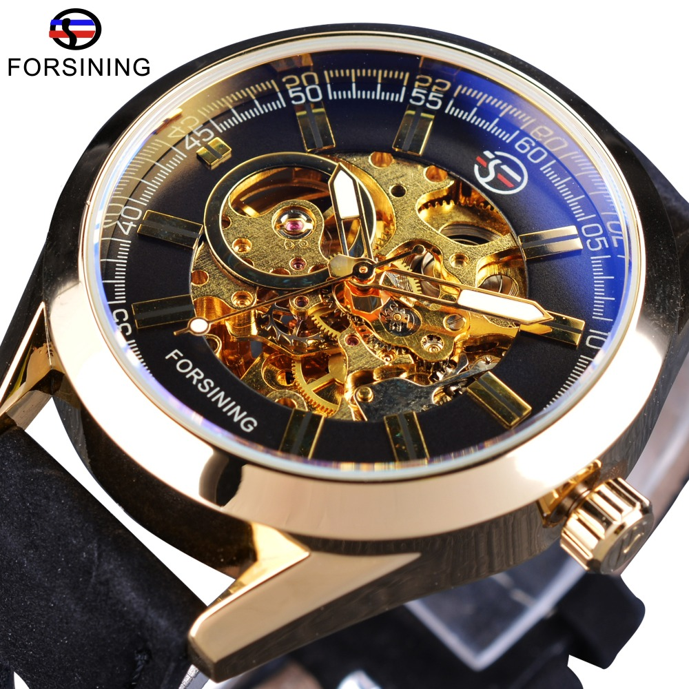 Forsining Golden Case Steampunk Automatic Wrist Watch Mens Skeleton Watches Top Brand Luxury Uhren Men Genuine Leather Clock forsining 3d skeleton twisting design golden movement inside transparent case mens watches top brand luxury automatic watches