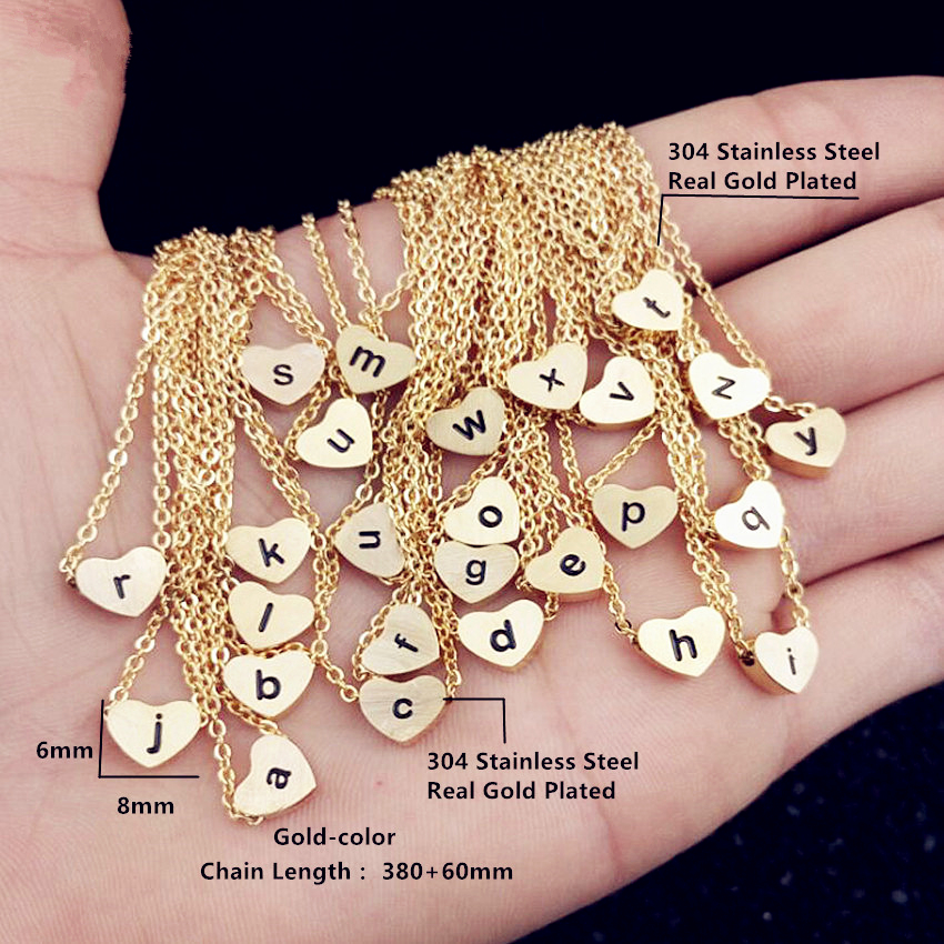 GORGEOUS TALE Stainless Steel Chain Letter a b c d e f g h i j k l m n o p q r s t u v w x y z Heart Choker Necklace Women Gold